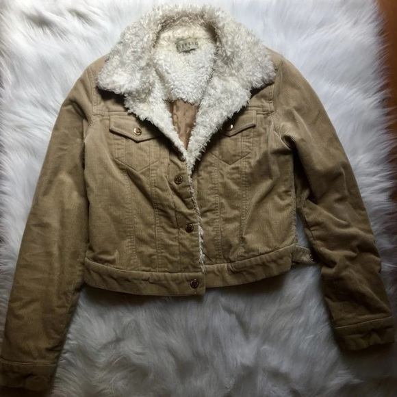 Finesse Jackets Coats Tan Corduroy Jacket W Faux Fur Size L